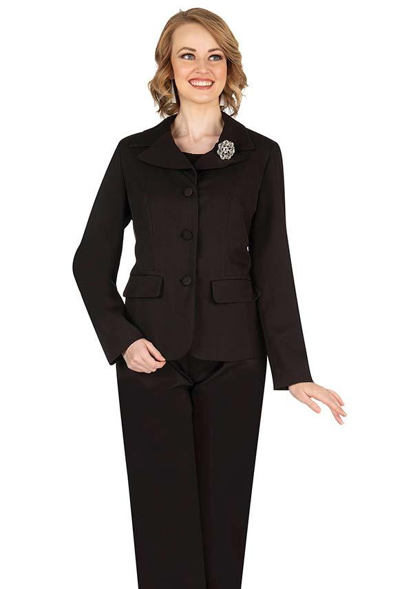 Aussie Austine 835-Black - Pant & Skirt Wardrober Set With Notch Lapel Jacket