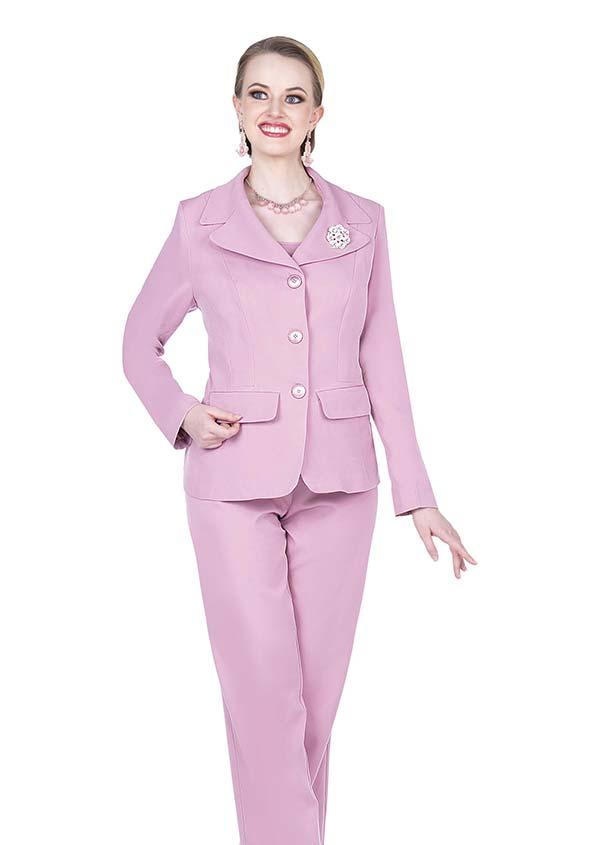Aussie Austine 835-Rose - Pant & Skirt Wardrober Set With Notch Lapel Jacket