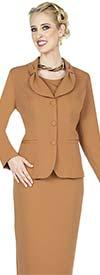 Aussie Austine 836-Khaki - Pant & Skirt Wardrober Set With Tied Shawl Lapel Jacket