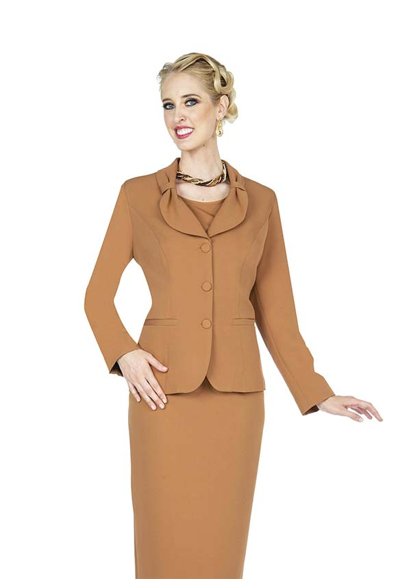 Aussie Austine 836-Khaki - Pant & Skirt Wardrober Set With Tied Shawl Lapel Jacket