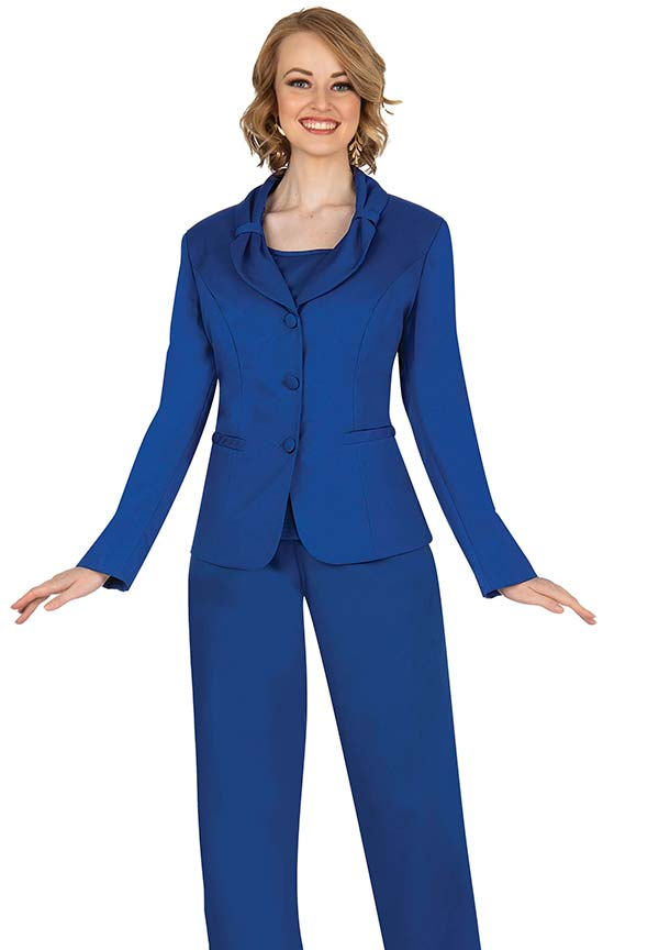 Aussie Austine 836-Royal - Pant & Skirt Wardrober Set With Tied Shawl Lapel Jacket