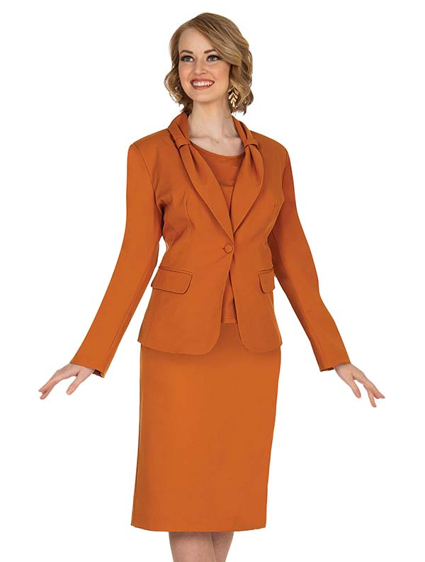 Aussie Austine 837-Rust - Pant & Skirt Wardrober Set With Tied Shawl Lapel Jacket