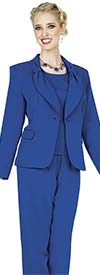 Aussie Austine 837-Royal - Pant & Skirt Wardrober Set With Tied Shawl Lapel Jacket