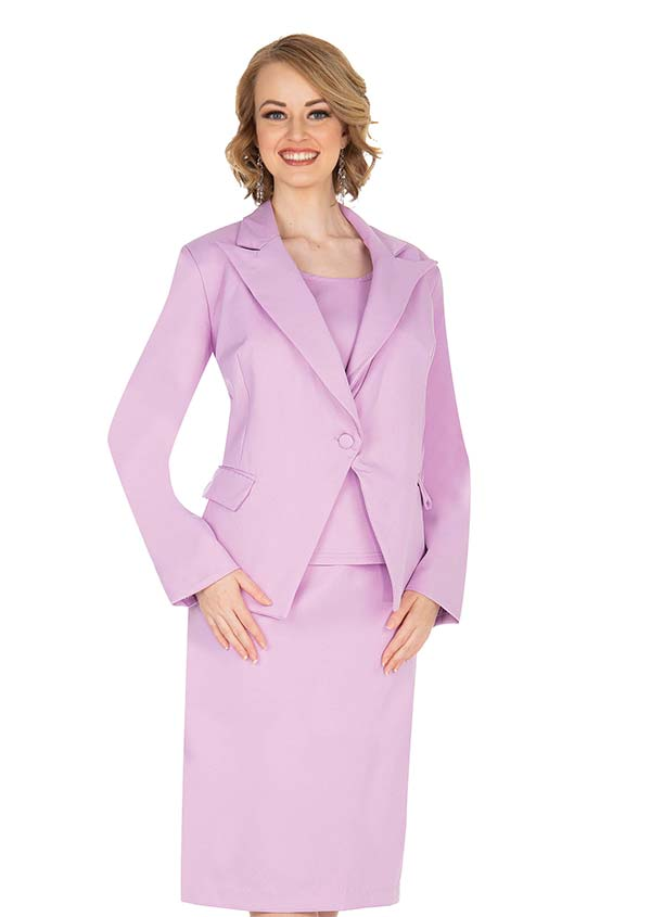Aussie Austine 838-Lilac - Pant & Skirt Wardrober Set With Peak Lapel Jacket