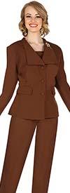 Aussie Austine 840-Brown -  Pant & Skirt Wardrober Set With Wide Wing Collar Jacket