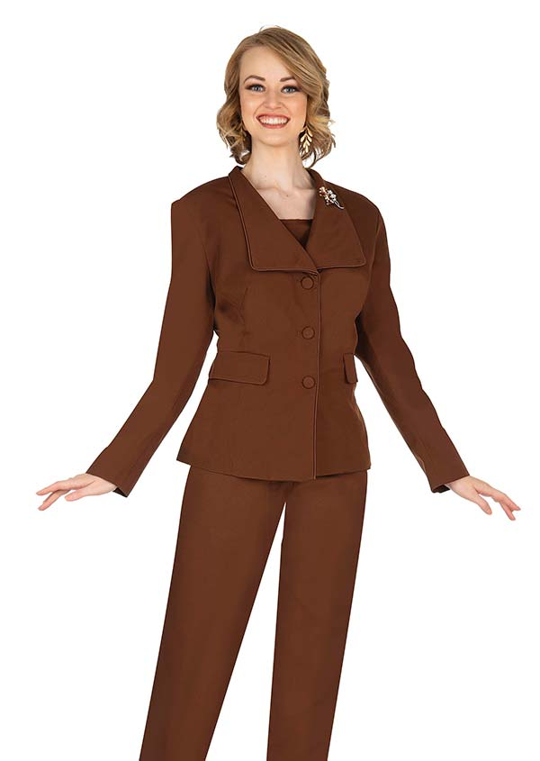 Aussie Austine 840-Brown -  Pant & Skirt Wardrober Set With Wide Wing Collar Jacket