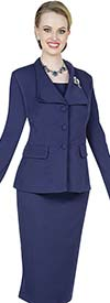 Aussie Austine 840-Navy -  Pant & Skirt Wardrober Set With Wide Wing Collar Jacket