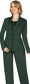 Aussie Austine 841-Green - Pant & Skirt Wardrober Set With Shawl Lapel Jacket