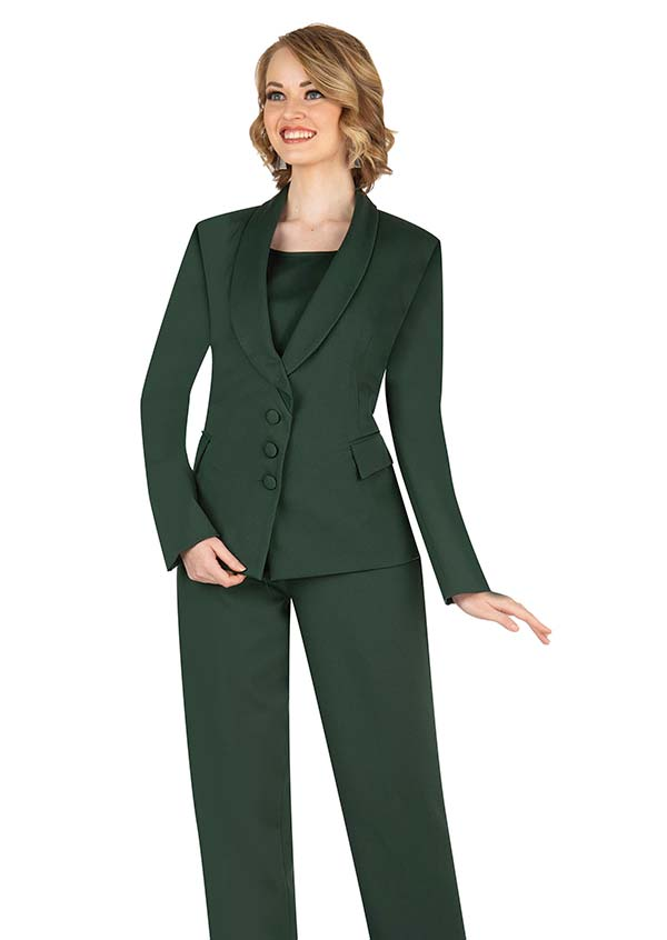 Aussie Austine 841-Green - Pant & Skirt Wardrober Set With Shawl Lapel Jacket