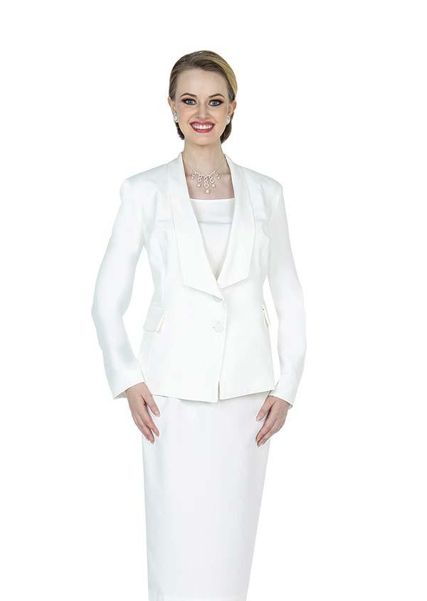 Aussie Austine 841-White - Pant & Skirt Wardrober Set With Shawl Lapel Jacket