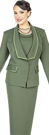 Aussie Austine 842-Hunter -  Pant & Skirt Wardrober Set With Shawl Lapel Jacket