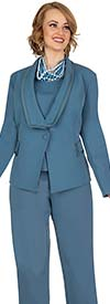 Aussie Austine 842-Teal -  Pant & Skirt Wardrober Set With Shawl Lapel Jacket
