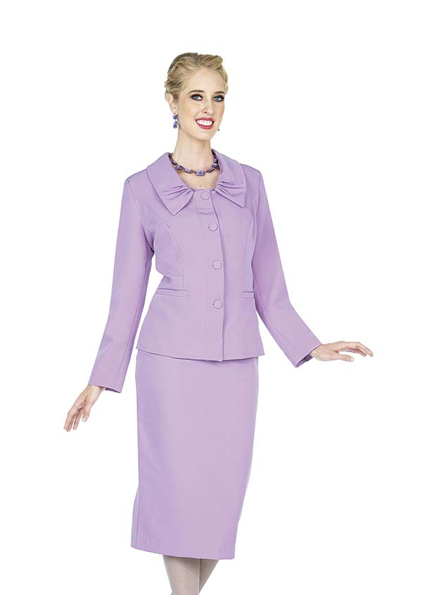 Aussie Austine 843-Lilac - Pant & Skirt Wardrober Set With Pleated Collar Jacket