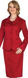 Aussie Austine 844-Red - Pant & Skirt Wardrober Set With Notch Lapel Jacket