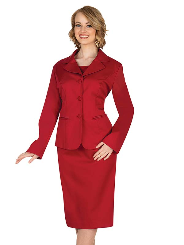 Aussie Austine 844-Red - Pant & Skirt Wardrober Set With Notch Lapel Jacket