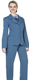 Aussie Austine 844-Teal - Pant & Skirt Wardrober Set With Notch Lapel Jacket