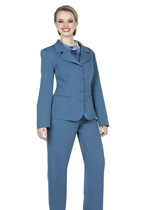 Aussie Austine 844-Teal - Pant & Skirt Wardrober Set With Notch Lapel Jacket