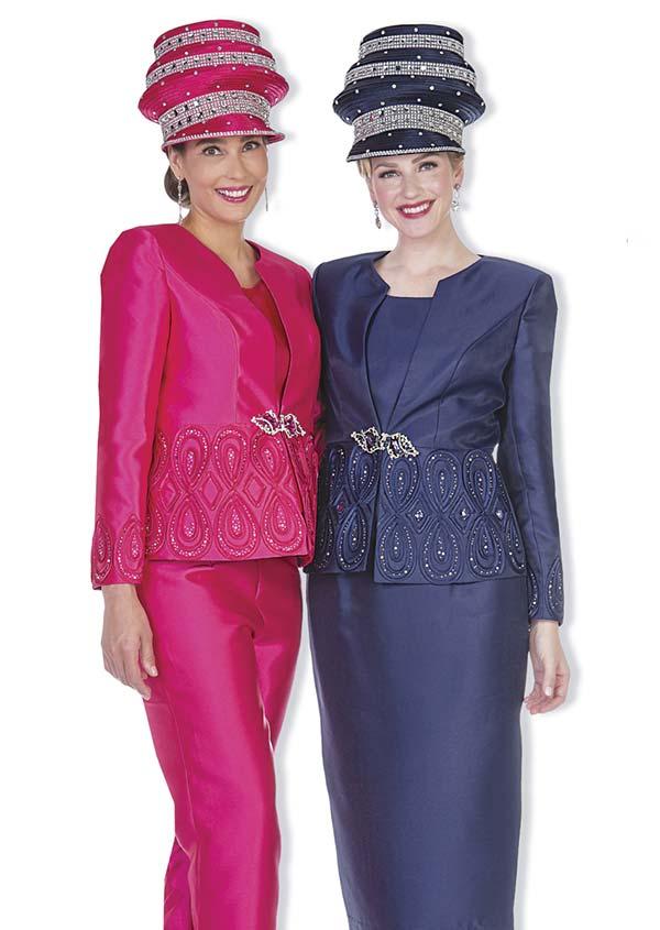 Aussie Austine 5104 Four Piece Twill Satin Womens Suit Wardrober With Novelty Brocade Jacket