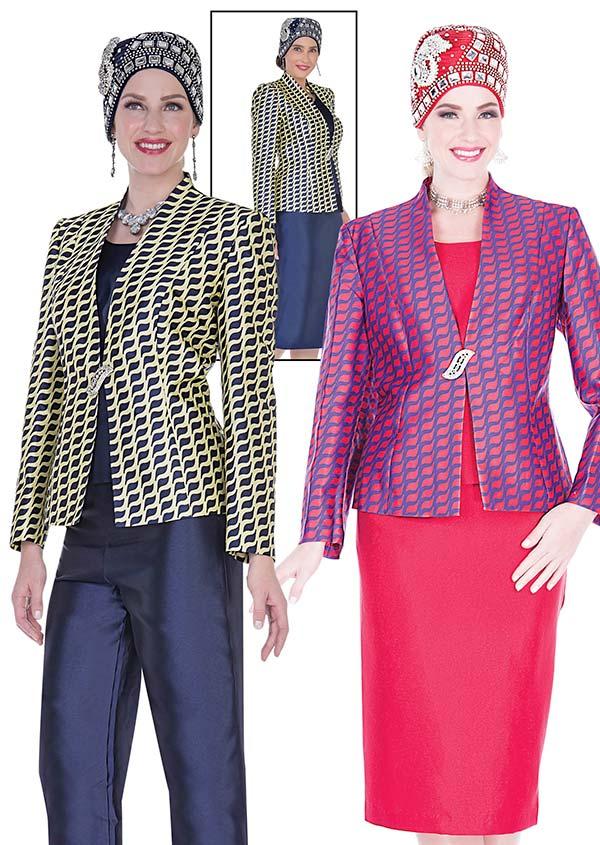 Aussie Austine  5121 Four Piece Twill Womens Suit Wardrober With Print Jacket
