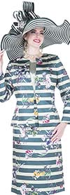 Aussie Austine 5122 Womens Stripe & Floral Print Church Suit