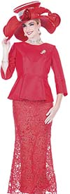 Aussie Austine 5205 Satin Twill Fabric Peplum Jacket & Lace Skirt Suit