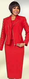 Ben Marc Executive 11696 Womens Skirt Suit With Notch Lapel & Zipper Adornments
