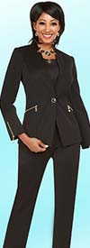 Ben Marc Executive 11715 Womens Pant Suit With Star Neckline & Zippers