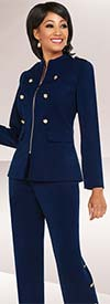 Ben Marc Executive 11717 Womens Career Pant Suit With Button Adornments