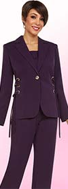 Ben Marc Executive 11718 Womens Pant Suit With Notch Lapel & Threaded Grommets