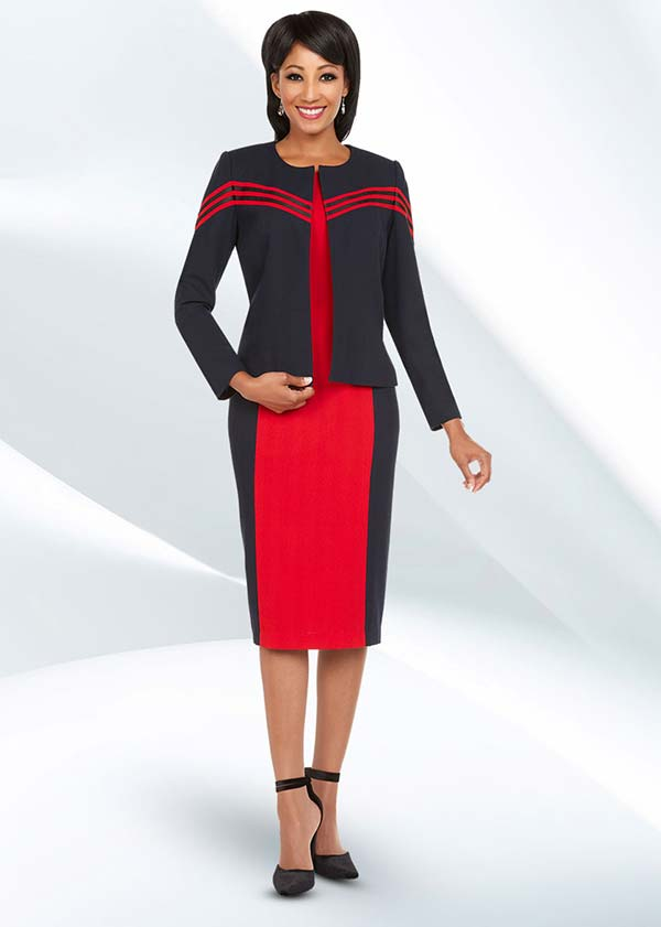 Ben Marc Executive 11729 Dual Color Business Dress Suit With Jewel Neckline
