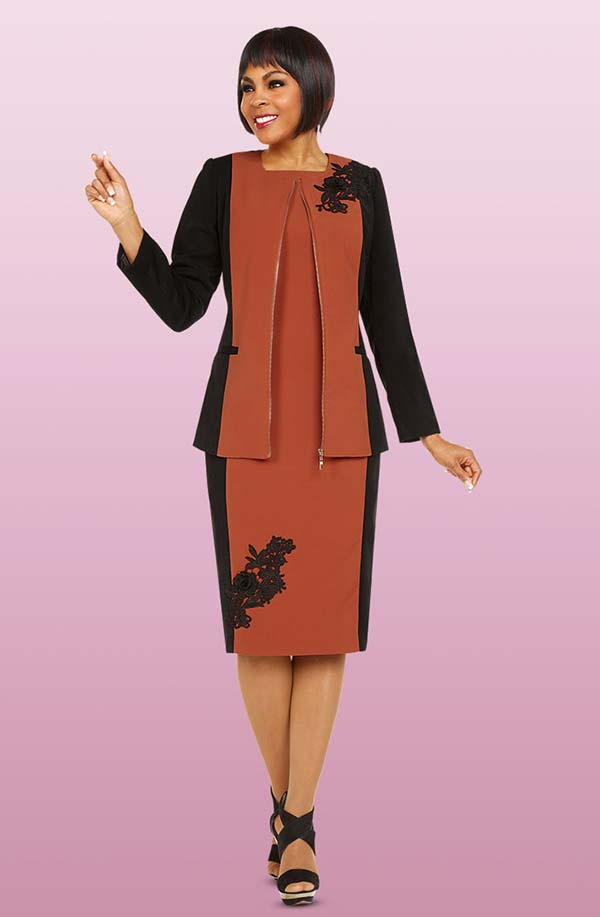 Ben Marc Executive 11731 Dual Color Business Dress Suit With Embroidery Detail