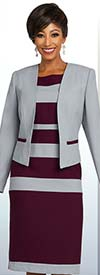 Ben Marc Executive 11801 Womens Striped Design Business Dress & Jacket Suit
