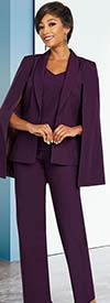 Ben Marc Executive 11806 Three Piece Pant Suit With Shawl Lapel Capelet Jacket