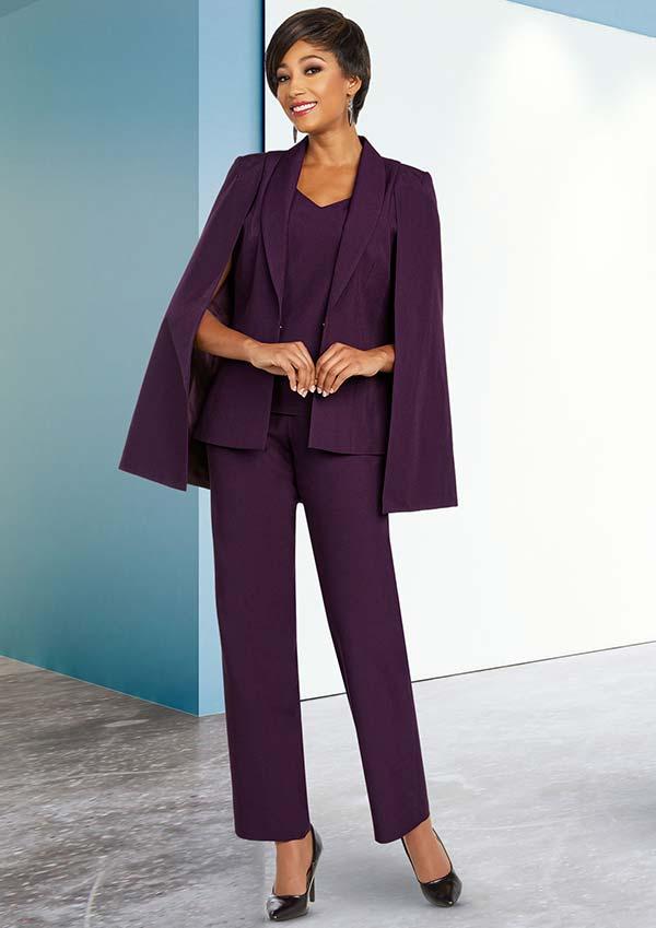 Ben Marc Executive 11806 Three Piece Pant Suit With Shawl Lapel Capelet Jacket