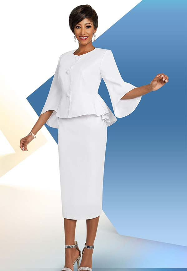 Ben Marc Executive 11808 Womens Skirt Suit With Bell Sleeve Peplum Jacket