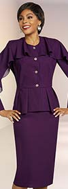 Ben Marc Executive 11811 Ladies Skirt Suit With Ruffle Accented Jacket