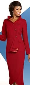 Ben Marc Executive 11812 Tulip Skirt Suit Including Stand Up Collar Jacket With Ruffle Accent