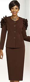 Ben Marc Executive 11813 Ladies Skirt Suit With Ruffle Accented Jacket Shoulders