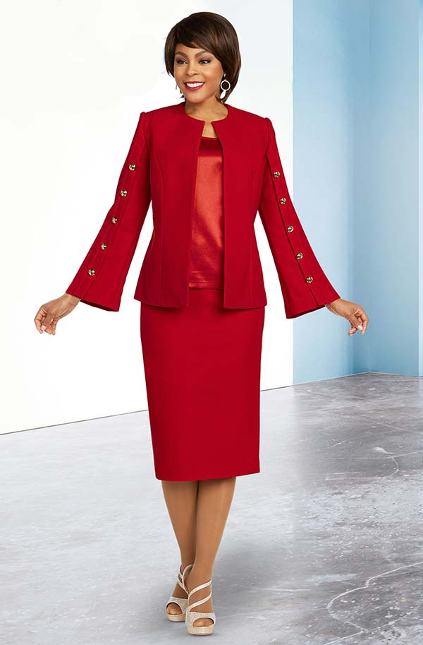 Ben Marc Executive 11822 Womens Career Suit With Button Accented Flared Sleeves