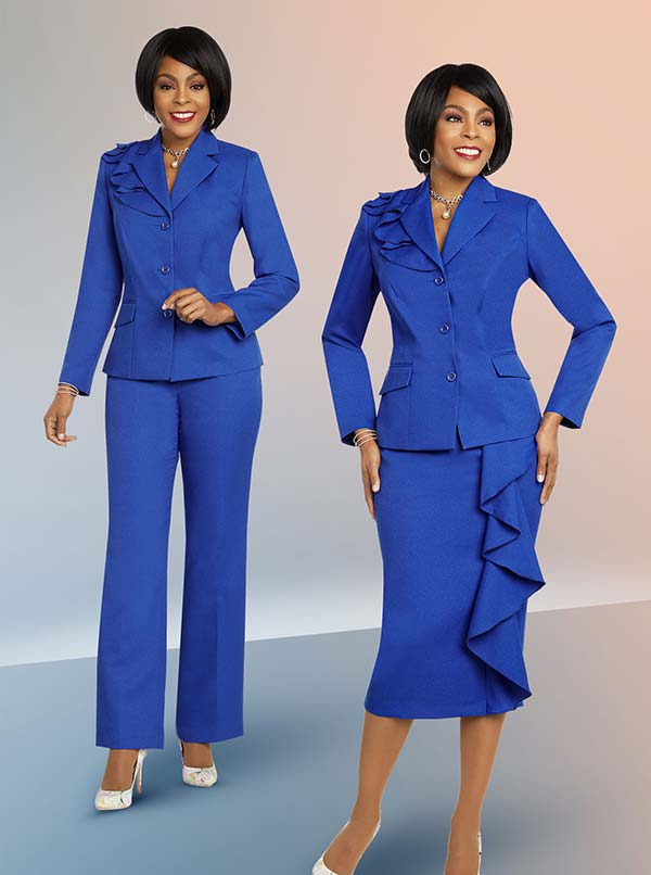 Ben Marc Executive 11825 Ruffle Accented Womens Wardrober Suit Set With Pants & Skirt