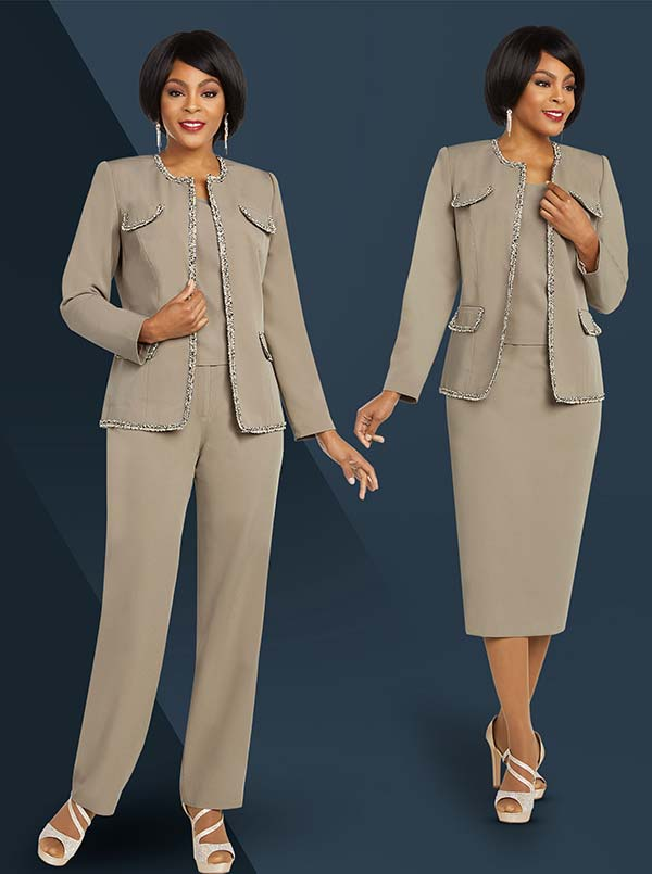 Ben Marc Executive 11826 Skirt & Pant Wardrober Suit Set With Trimmed Jacket Accents