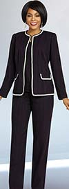 Ben Marc Executive 11827 Womens Weekender Suit Set With Trimmed Jacket