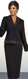 Ben Marc Executive 11831 Professional Womens Suit With Patterned Notch Lapel & Trim Jacket
