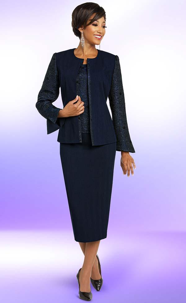 Ben Marc Executive 11835 Jewel Neckline Jacket & Skirt Suit With Brocade Style Attributes