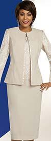 Ben Marc Executive 11836 Jewel Neckline Jacket & Skirt Suit With Brocade Style Attributes