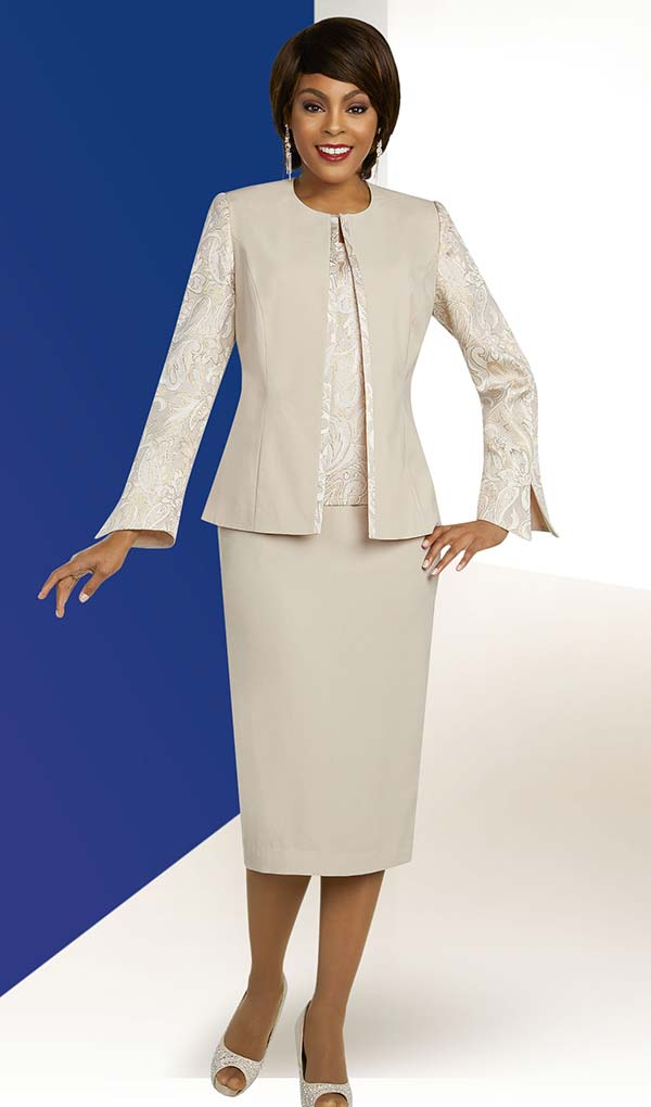 Ben Marc Executive 11836 Jewel Neckline Jacket & Skirt Suit With Brocade Style Attributes