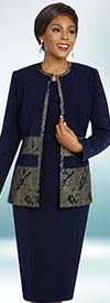 Ben Marc Executive 11837 Womens Dress Suit With Print Accented Jewel Neckline Jacket