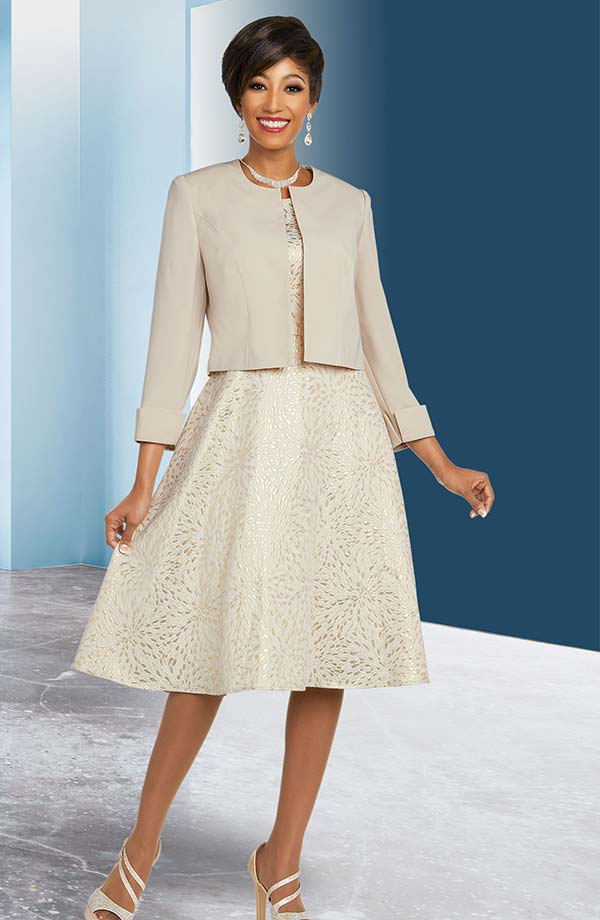 Ben Marc Executive 11838 Patterned Dress Suit With Jewel Neckline Roll Cuff Sleeve Jacket