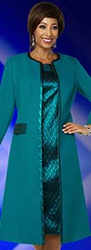 Ben Marc Executive 11844 Iridescent Dress Suit With Trimmed Duster Style Jacket