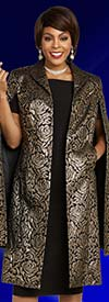 Ben Marc Executive 11845 Womens Business Dress Suit With Floral Brocade Design Caped Duster Jacket